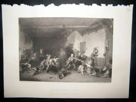 After David Wilkie 1860 Steel Engraving. Blind Man's Buff